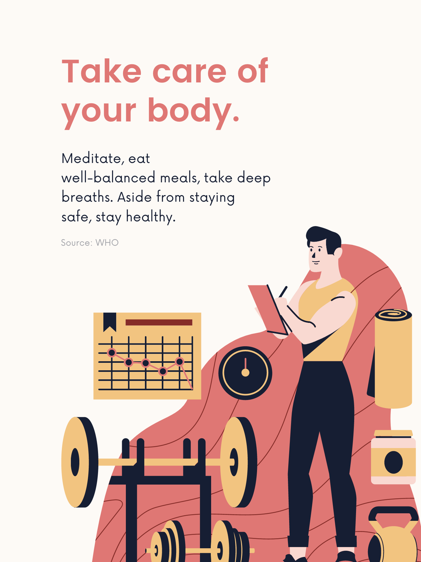 Managing Covid-19 Stress poster - Take Care of Your Body